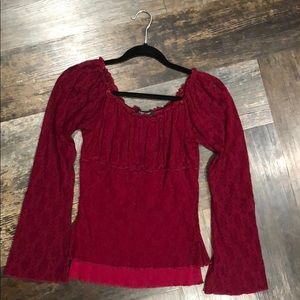 Wine colored lace long sleeve top